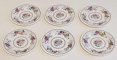 Set of Six Vintage Ridgways 'Lynton' Blue Multicolor 6 inch Side Plates