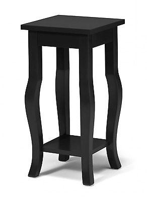 Kate and Laurel Lillian Wood Pedestal End Table Curved Legs with Shelf, Black
