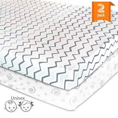 Pack N Play Playard Portable Mini Crib Sheet Set – 2 Pack Jersey Cotton Fitted S
