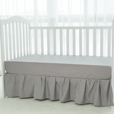 Crib Skirt Gray Baby Bed Percale Ruffled Bed Skirt, 100% Natural Cotton, Nursery