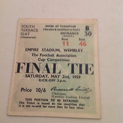 1959 FA Cup Final Ticket. Luton v Nottingham Forest. Excellent Condition.