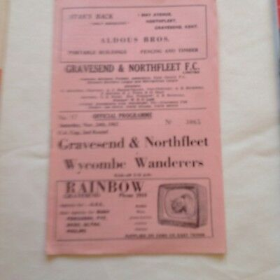 Very good 55 Years Old - Gravesend v Wycombe 1962 FA Cup 2nd Round Programme