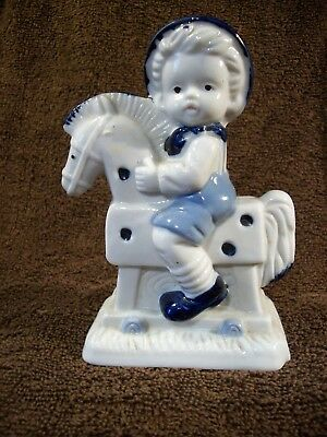 "Delft Blue & White Figurine 5 1/2"" Tall - Young Boy Riding a Hobby Horse   #593"