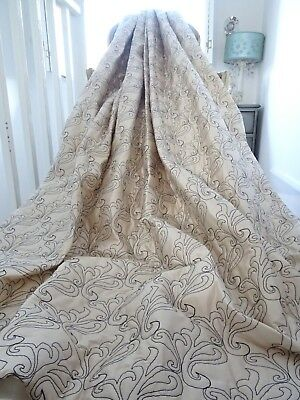 OPULENT CURTAINS 100% SILK abstract FIGURED EMBROIDERY echo QUILTED IMMACULATE