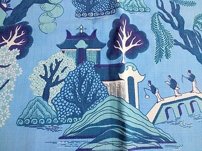 Willow Pattern Printed Vintage Linen Tablecloth