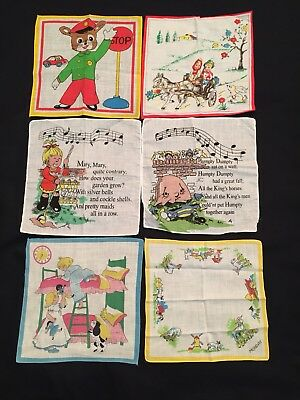 6 Vintage Childrens Handkerchiefs