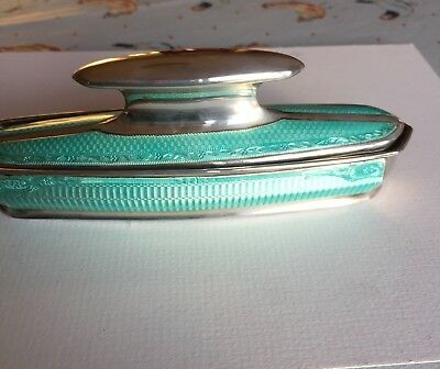 Vintage Enamel And Silver Nail Buffer