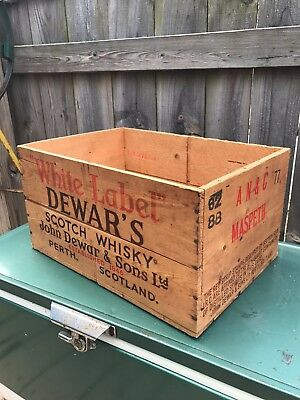 Vintage Wood Dewars White Label Scotch Whisky Crate Box Maspeth Queens NY