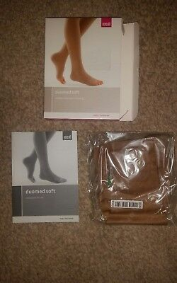 NEW & BOXED Duomed soft compression calf stocking closed toe Sand CCL1 Size L