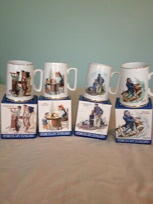 Set of 4 Norman Rockwell Seafares Collection Tankard Mug Long John Silvers 1985