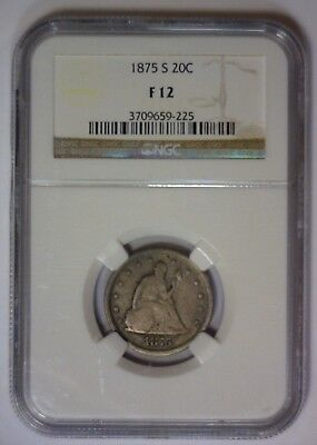 1875 S Twenty Cent Piece Type Coin 1st Year Issue 20c ~ NGC Fine F12 F 12