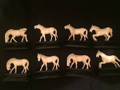 19 century 8 Japanese Bovine carving horses on hardwood stands