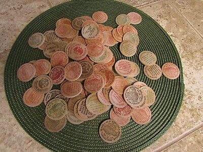 Lot 108 Wooden Nickel Tokens Chips All Good Condition most from early 70's