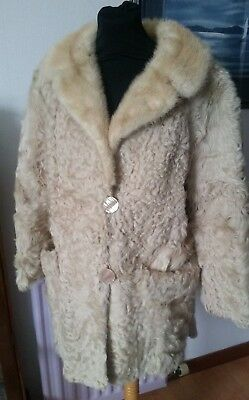 Browns of Chester Vintage blonde real curly lamb fur jacket with mink collar