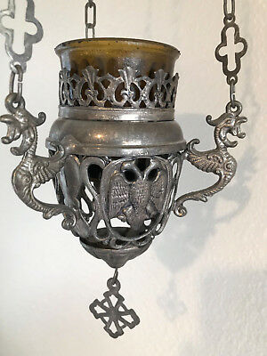 Antique Russian Orthodox Icons Lamp Lampada Silvered 19th century.