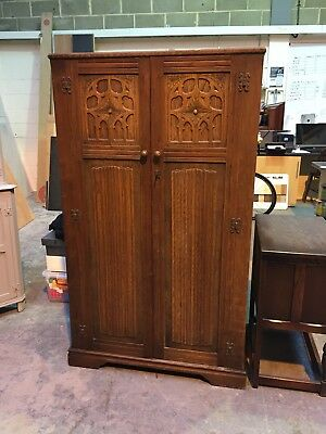 Vintage Old Charm Style Medium Oak Wardrobe with Linenfold Panels