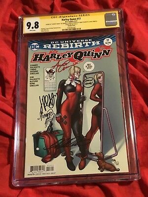 Cgc Ss 9.8~Harley Quinn #17~Signed+Inscribed Amanda Conner+Frank Cho+Timms+Jimmy