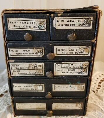 Vintage Apothecary Supply  Cardboard Box with 5 Drawers