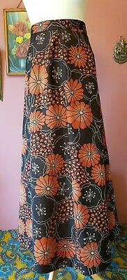 Vintage women's 70s gold floral sparkly maxi skirt