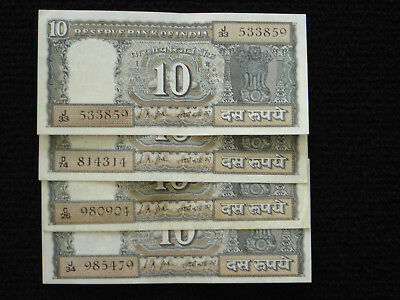 India P-69a 1969  10 Rupees VF Lot of 4 Notes
