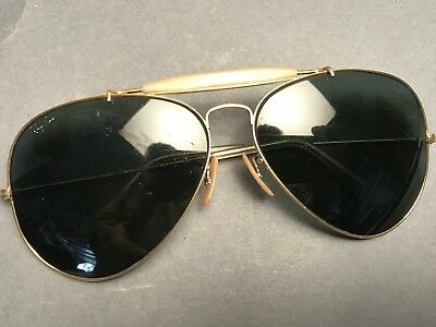 Vintage Ray Ban  62[]14 Aviator Gold Wire Sunglasses Green Lens USA B&L Classic