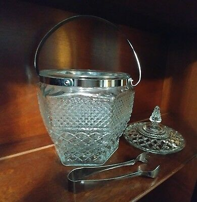 Vintage Anchor Hocking Wexford Cut Glass Ice Bucket with Tongs