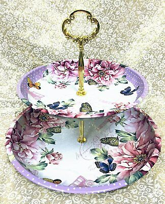 Charmed Vintage Floral pattern 2 tier cake and pastry stand server Lavender