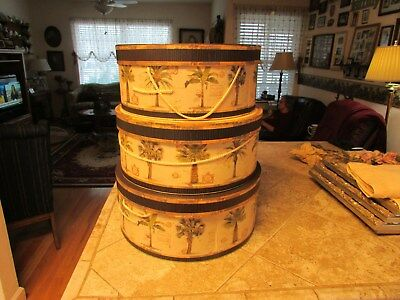 Hat Box Set 3 Round 18THC Colonial Paperboard Storage Nesting or Hat Boxes