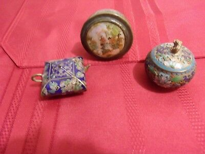 Snuff Box Chinese and Cloisonne Teapot and Jar (Mini) Vintage