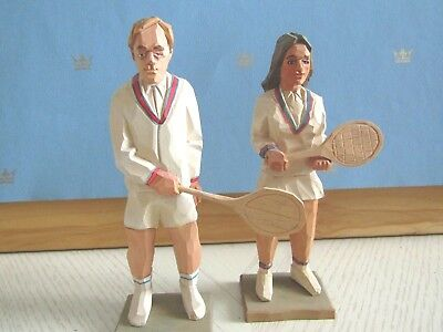 Gunnarsson of Sweden Carving of 2 Tennis Players, Signed