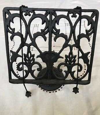 Vintage Black Wrought Iron Cookbook, Music, Bible Stand Holder Display Easel