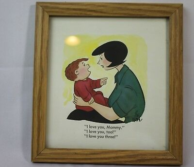 Family Circus Bill Keane Hand Colored Signed Framed Cartoon 1984