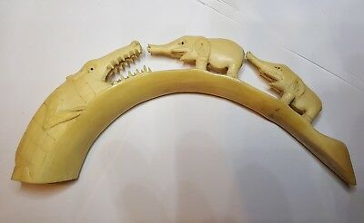 Antique Bovine Bone Hand Carving. Of Wild Aniaml Scene - 9.5 Inches End To End