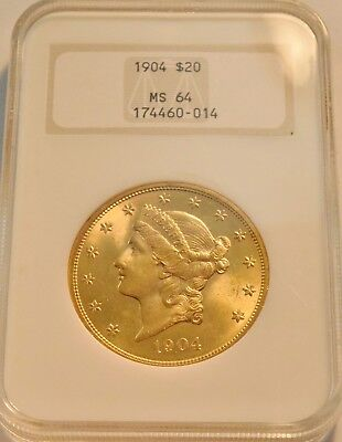 1904 $20 NGC MS 64 Gold Liberty Double Eagle, Old Fatty Holder Looks GEM Unc PQ
