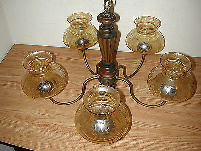 Vintage Wooden & Brass 5-Arm Chandelier Light Fixture With Amber Glass Shades