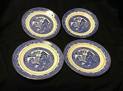 "4 Vtg Lovely ROYAL GRAFTON BLUE WILLOW SALAD 7"" PLATES Transferware BONE CHINA"