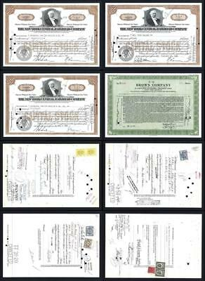 Lot of 4 Stock Certificates issued between 1942 and 1950 - Lot # 605