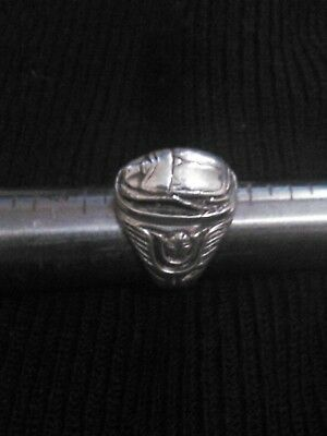Antique Solid heavy weight (22gm.) Sterling Silver Men's Egyptian Scarab Ring