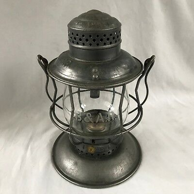 B&A RR 1913 Armspear Bell Bottom Railroad Lantern w/ Etched Extended Base Globe