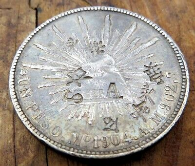 1904 UN PESO Mo AM CHOPMARKS COUNTERSTAMPS BEAUTIFUL