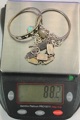 88.2 grams, ,4 Bracelets, Silver, 925, Sterling, Jewelry, Scrap, Wear.