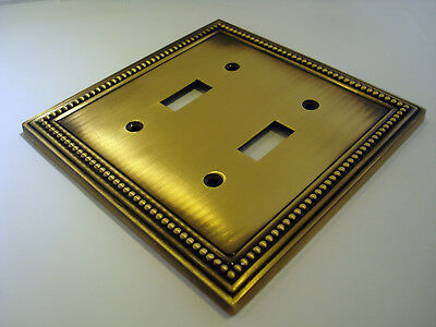 Mint Craft Decor Tumbled Antique Brass Finish Double Switch Plate