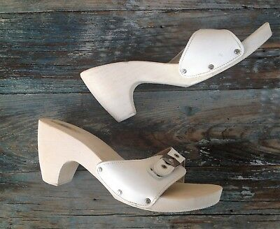 Original Dr Scholl'S High Heel White Wood & Leather Slip On Sandals, Italy, 10M