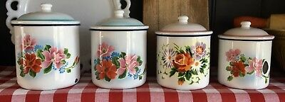 Vintage Enamelware Tinware Canisters Set 4 LUCKY ELEPHANT China