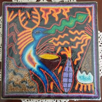 Huichol yarn painting from Mexico