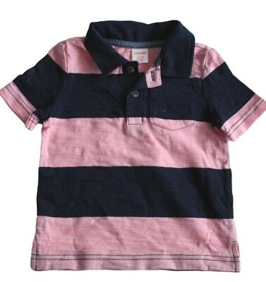 Gymboree Baby Boys Blue Pink Striped Collar Polo Shirt Top NEW Tags 12-18 months