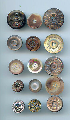 "15 asst'd CARVED IRIDESCENT SMOKEY MOTHER of PEARL buttons--1"" to  9/16""--L@@K"