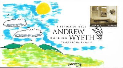 FDC Andrew Wyeth #A Chaddsford PA July 12 2017 Hand Painted Cachet by Barnnie