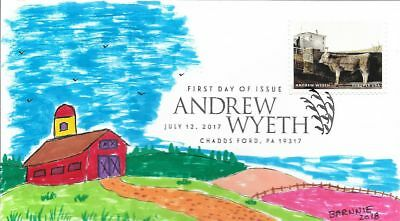 FDC Andrew Wyeth #B Chaddsford PA July 12 2017 Hand Painted Cachet by Barnnie