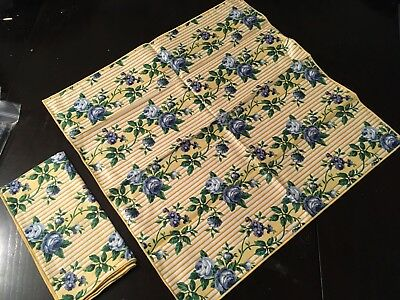 Longaberger Napkins Rose Trellis Fabric Squares Blue Yellow Floral Set Of 2 NEW